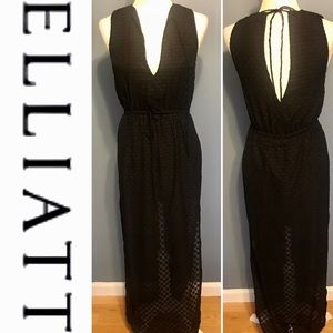 ELLIATT black sheer dot low cut maxi dress